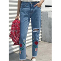 Medium & Large Embroidery Rose Jeans