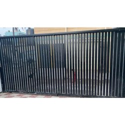 Black Paint Coated Mild Steel Automatic Sliding Gate, For Residential