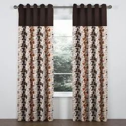 VeBNoR Brown Premium Knit Quality Printed Curtain( with Solid Patch (Door &  Window), Rs 95 /piece | ID: 21496747288