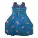 Party Wear Kids Designer Blue Cotton Dress