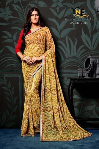 539b6c4b39 Casual Wear Yellow Designer Chiffon Saree With Red Blouse, With Blouse Piece
