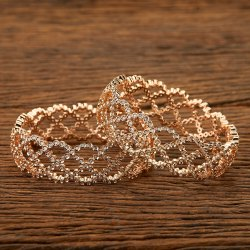 Party Wear Brass & Copper Cz Rose Gold Plated Handmade Bangles 401613