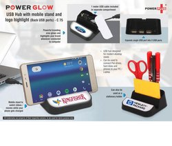 Powerglow USB Hub With Mobile Stand And Logo Highlight