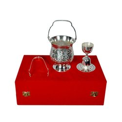 Silver Plated Ice Bucket and Peg Measurement Cup for Royal Wedding