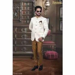 Mens White Jacquard Jodhpuri Suit