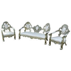 Stainless Steel and Velvet 5 Seater Victoria Sofa Set