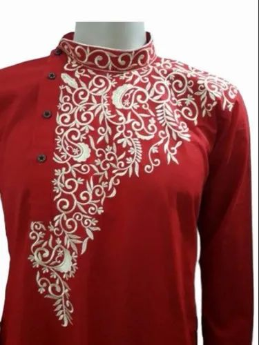 Party Embroidered Men Designer Cotton Kkurta, Size/Dimension: Large, Size: 38 40 42