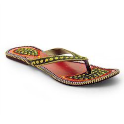 Women Zari Work Fancy V-Shape Green Chappal 328