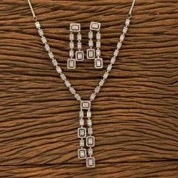 White Brass & Copper Cz Classic Necklace Set With Black Rose Plating 400443