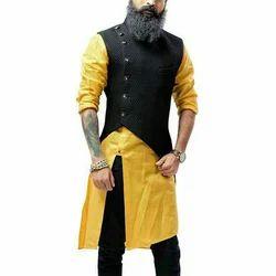 Yellow Qurta with Black Wool Waistcoat