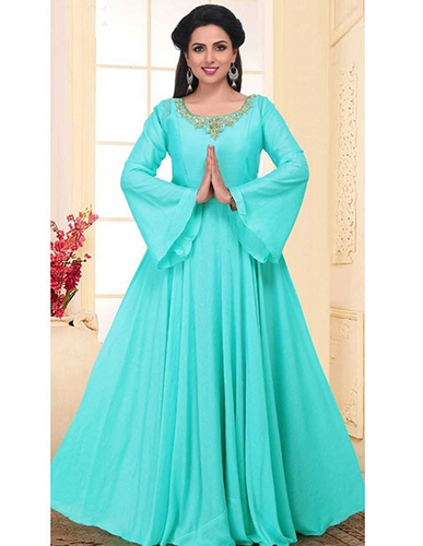 9b608a056b2 Beautiful Neck Embroidered Ready Made Faux Georgette Anarkali Suit With  Matching Bottom And Dupatta