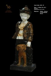 Boy with Dog Marble Statue