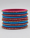 Pink and Blue Silk Thread Bangle