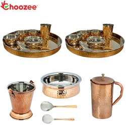 Choozee - Stainless Steel Copper Thali Set with Serveware & Hammered Pitcher Jug (21 Pcs)