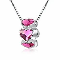 Cubic Zircon Heart Silver Pendant, Size: 12 to 16 inches