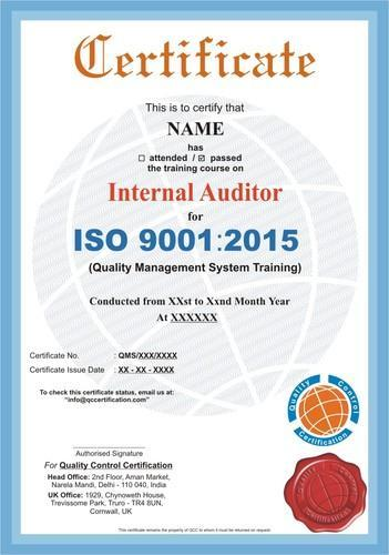 Internal Auditor Course Certification Service in Sector 63, Delhi ...