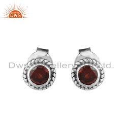 Garnet Gemstone Oxidized Sterling Silver Stud Earrings