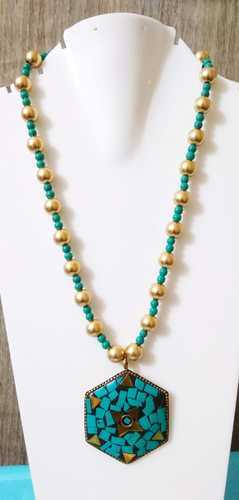 Tibetan Beaded Necklace - Terquoise Color