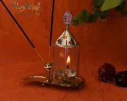 Golden Round HHIGS013 HHI German Silver Diya With Oil Lamp, Size: 15 X 10.5 Cm
