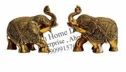 Brass Handicraft Elephant Pair For Home Decor