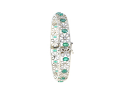 Gold Emerald Gemstone Bangle