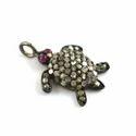 Natural Single Cut Pave Diamond Turtle Charm Pendant