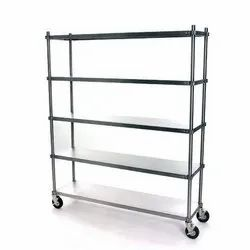 4ft Stainless Steel 5 Shelves SS Rack With Wheels