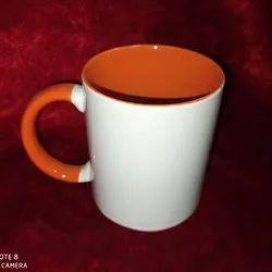 Plain Ceramic Sublimation Orange Colour Inside Mug, For Gifting, Size/Dimension: 11oz