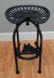 Industrial Cast Iron Tractor Seat Bar Stool, Metal Furniture
