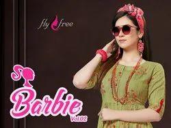 Barbie-2 Rayon Flex Foil Print Frock Style Kurtis