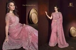 Indian Ethnic Designer Digital Net Party Wear Pink Saree, 6 M (with Blouse Piece)
