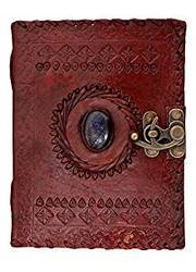 Handmade Leather Diaries, Vintage Leather Journals with Stone and Lock, Leather Journal