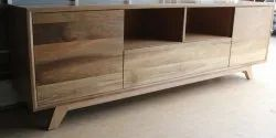 Natural European Pine Wood TV Unit - With 2 Boxes 1 Drawer And Open Storage - European Pinewood, Warranty: 1 Year, for Home