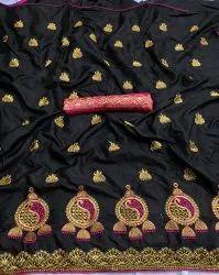 Black Sona Silk Saree, With blouse piece, 5.5 m (separate blouse piece)