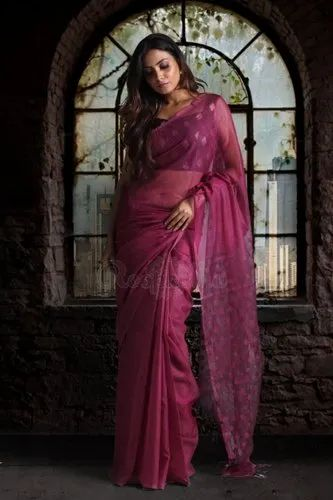 Casual Plain Ladies Georgette Pink Handloom Saree with Blouse Piece