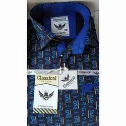 Full Sleeves Blue Kids Cotton Printed Shirt
