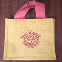 Printed Paddar Jute Lunch Bag, For Shpooing Gift, Size/dimension: 7*7*3