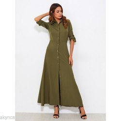 Long Flared Dress With Cuff and Tab on Sleeves