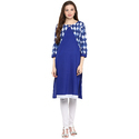 Cotton Blue 3/4th Sleeve Printed Kurti, Size: S, M & L