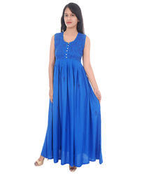 Ladies Rayon Cotton Embroidered Designer Gown