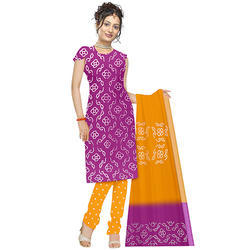 84708ac77b5 Cotton Silk Purple   Yellow Bandhani Kurti