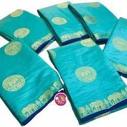 Tusser Silk With Zari Weaving Designer Butta