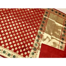 Party Wear Kundan Work Banarasi Fancy Silk Saree, 5.5 m (separate blouse piece)
