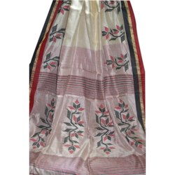 Krishnachura Tussar Kantha Saree, With Blouse Piece, 5.2 m (separate blouse piece)