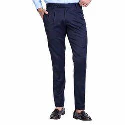 Blue Cotton Men''s Formal Pant
