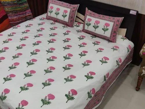 Hotel Cotton Hand Printed Bedsheet