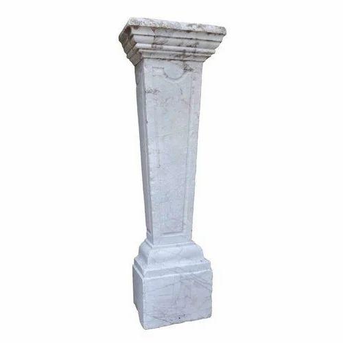 White Marble Pillar Rs 3500 Piece Vimla Marble