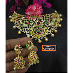 Box Alloy Kundan Choker Necklace Set, Necklace, Earrings
