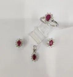 Fashion Beautiful Handmade Women 925 Silver Natural Ruby Gemstone Stud Earrings Necklace Jewelry Set