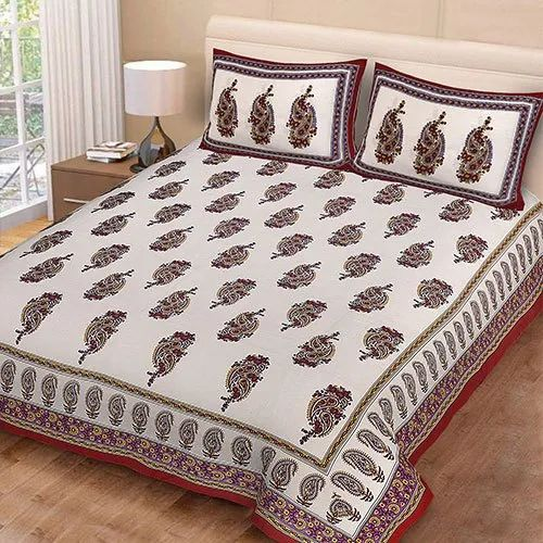 Cotton Printed Double Bed Sheets For Home Size 90 108 Inch Rs